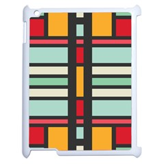 Mirrored Rectangles In Retro Colors Apple Ipad 2 Case (white) by LalyLauraFLM