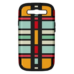 Mirrored Rectangles In Retro Colors Samsung Galaxy S Iii Hardshell Case (pc+silicone) by LalyLauraFLM