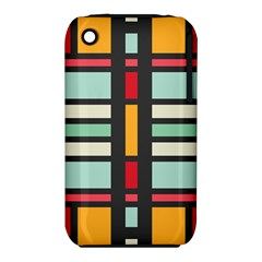 Mirrored Rectangles In Retro Colors Apple Iphone 3g/3gs Hardshell Case (pc+silicone) by LalyLauraFLM