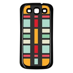 Mirrored Rectangles In Retro Colors Samsung Galaxy S3 Back Case (black) by LalyLauraFLM