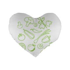 Green Vegetables Standard 16  Premium Flano Heart Shape Cushions by Famous