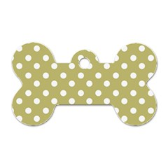 Lime Green Polka Dots Dog Tag Bone (one Side) by creativemom