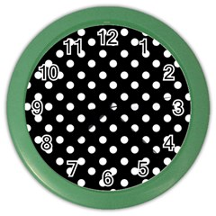 Black And White Polka Dots Color Wall Clocks by creativemom