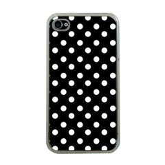 Black And White Polka Dots Apple Iphone 4 Case (clear) by creativemom