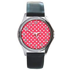 Hot Pink Polka Dots Round Metal Watches by creativemom