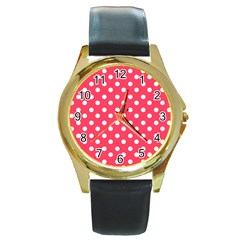 Hot Pink Polka Dots Round Gold Metal Watches by creativemom