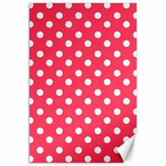 Hot Pink Polka Dots Canvas 24  X 36  by creativemom