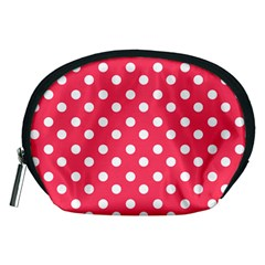 Hot Pink Polka Dots Accessory Pouches (medium)  by creativemom
