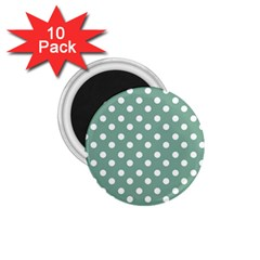 Mint Green Polka Dots 1 75  Magnets (10 Pack)  by creativemom