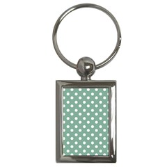 Mint Green Polka Dots Key Chains (rectangle)  by creativemom