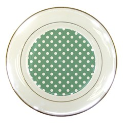 Mint Green Polka Dots Porcelain Plates by creativemom