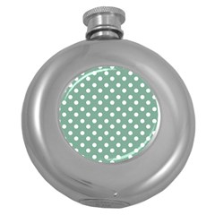 Mint Green Polka Dots Round Hip Flask (5 Oz) by creativemom