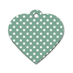 Mint Green Polka Dots Dog Tag Heart (one Side) by creativemom