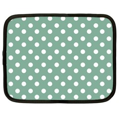 Mint Green Polka Dots Netbook Case (xl)  by creativemom