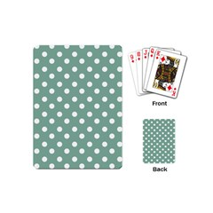 Mint Green Polka Dots Playing Cards (mini)  by creativemom