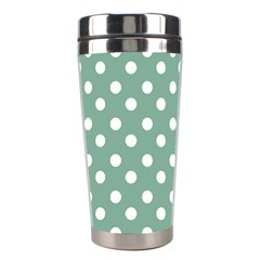 Mint Green Polka Dots Stainless Steel Travel Tumblers by creativemom