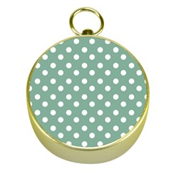 Mint Green Polka Dots Gold Compasses by creativemom
