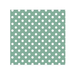 Mint Green Polka Dots Small Satin Scarf (square)  by creativemom