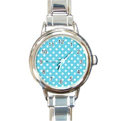 Sky Blue Polka Dots Round Italian Charm Watches