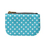 Sky Blue Polka Dots Mini Coin Purses Front