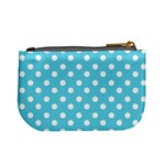 Sky Blue Polka Dots Mini Coin Purses Back