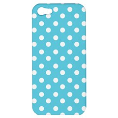 Sky Blue Polka Dots Apple Iphone 5 Hardshell Case by creativemom