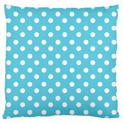 Sky Blue Polka Dots Large Flano Cushion Cases (one Side)  by creativemom