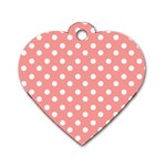 Coral And White Polka Dots Dog Tag Heart (Two Sides) Front