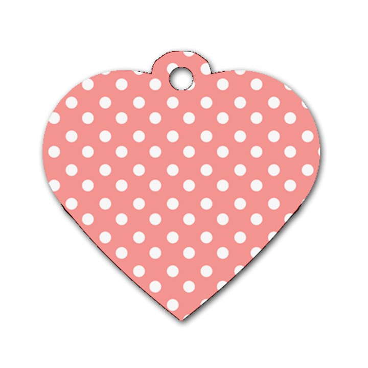 Coral And White Polka Dots Dog Tag Heart (Two Sides)