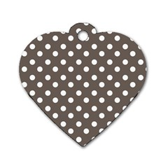 Brown And White Polka Dots Dog Tag Heart (one Side)
