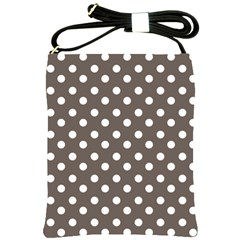 Brown And White Polka Dots Shoulder Sling Bags by creativemom