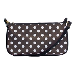 Brown And White Polka Dots Shoulder Clutch Bags by creativemom