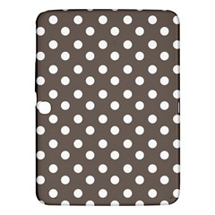 Brown And White Polka Dots Samsung Galaxy Tab 3 (10 1 ) P5200 Hardshell Case  by creativemom