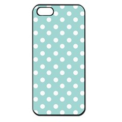 Blue And White Polka Dots Apple Iphone 5 Seamless Case (black) by creativemom