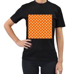 Orange And White Polka Dots Women s T Shirt (black) (two Sided) by creativemom