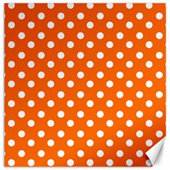 Orange And White Polka Dots Canvas 12  X 12