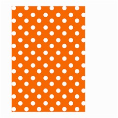Orange And White Polka Dots Small Garden Flag (two Sides) by creativemom