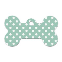 Light Blue And White Polka Dots Dog Tag Bone (one Side) by creativemom