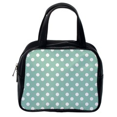 Light Blue And White Polka Dots Classic Handbags (one Side) by creativemom