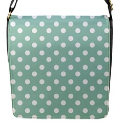 Light Blue And White Polka Dots Flap Messenger Bag (s) by creativemom