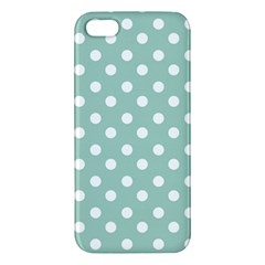 Light Blue And White Polka Dots Iphone 5s Premium Hardshell Case by creativemom