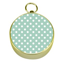 Light Blue And White Polka Dots Gold Compasses by creativemom