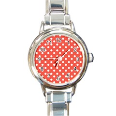 Indian Red Polka Dots Round Italian Charm Watches by creativemom
