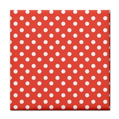 Indian Red Polka Dots Tile Coasters by creativemom