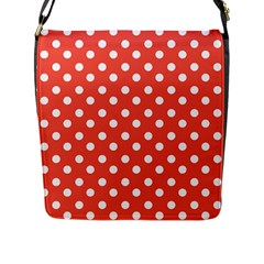 Indian Red Polka Dots Flap Messenger Bag (l)  by creativemom