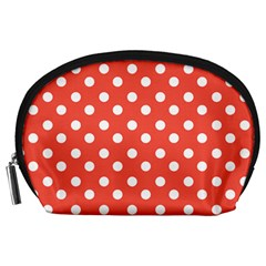 Indian Red Polka Dots Accessory Pouches (large)  by creativemom