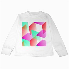 Geometric 03 Pink Kids Long Sleeve T Shirts