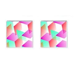 Geometric 03 Pink Cufflinks (square) by MoreColorsinLife