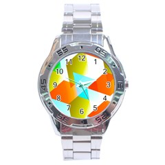Geometric 03 Orange Stainless Steel Men s Watch by MoreColorsinLife