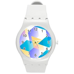 Geometric 03 Blue Round Plastic Sport Watch (m) by MoreColorsinLife